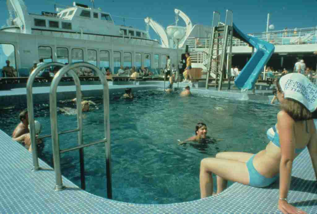 Carnival Cruise Line added a waterslide to a vessel for the first time in 1978, to the 728-passenger Festivale. (Photo courtesy of Carnival Cruise Line).