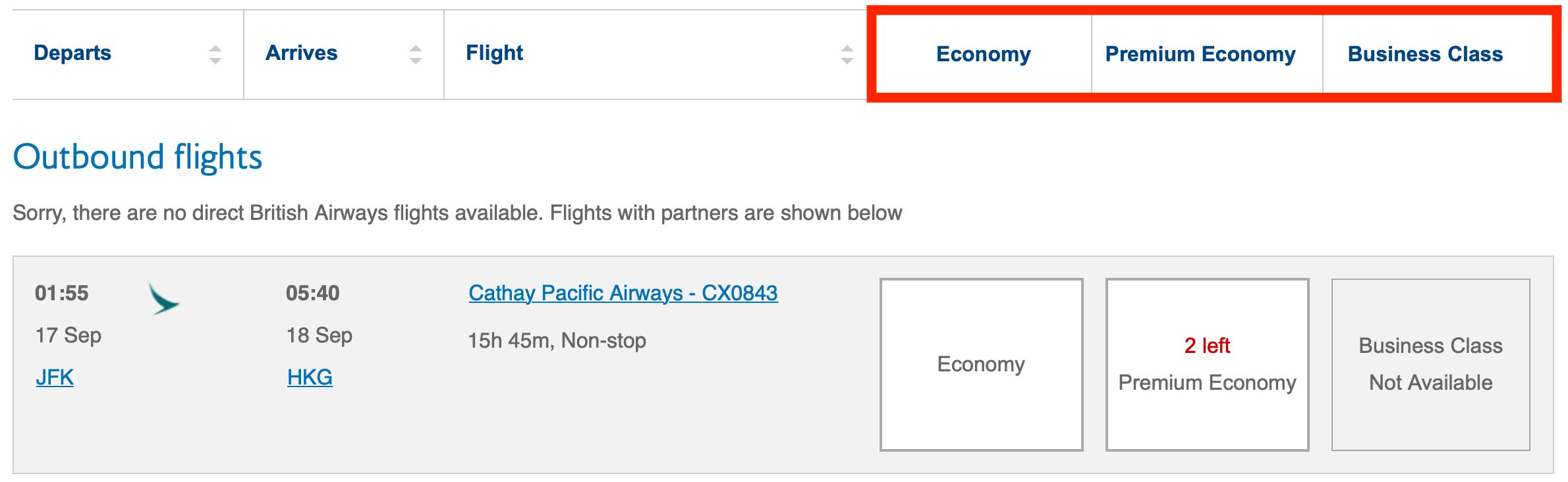 BA Website Showing Economy Awards Screen Shot