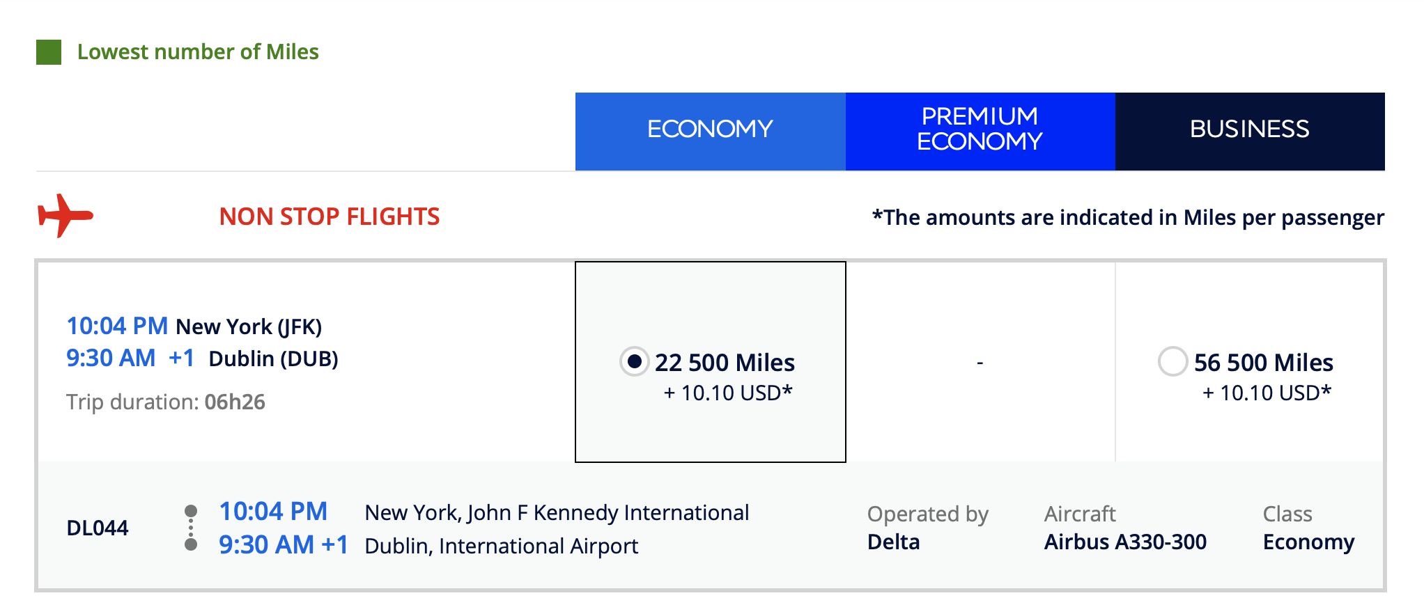 Booking JFK DUB with Flying Blue on Delta