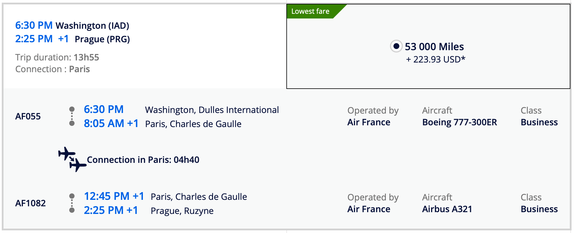 Booking Washington DC to Prague via CDG with Flying Blue on Air France Screen Shot