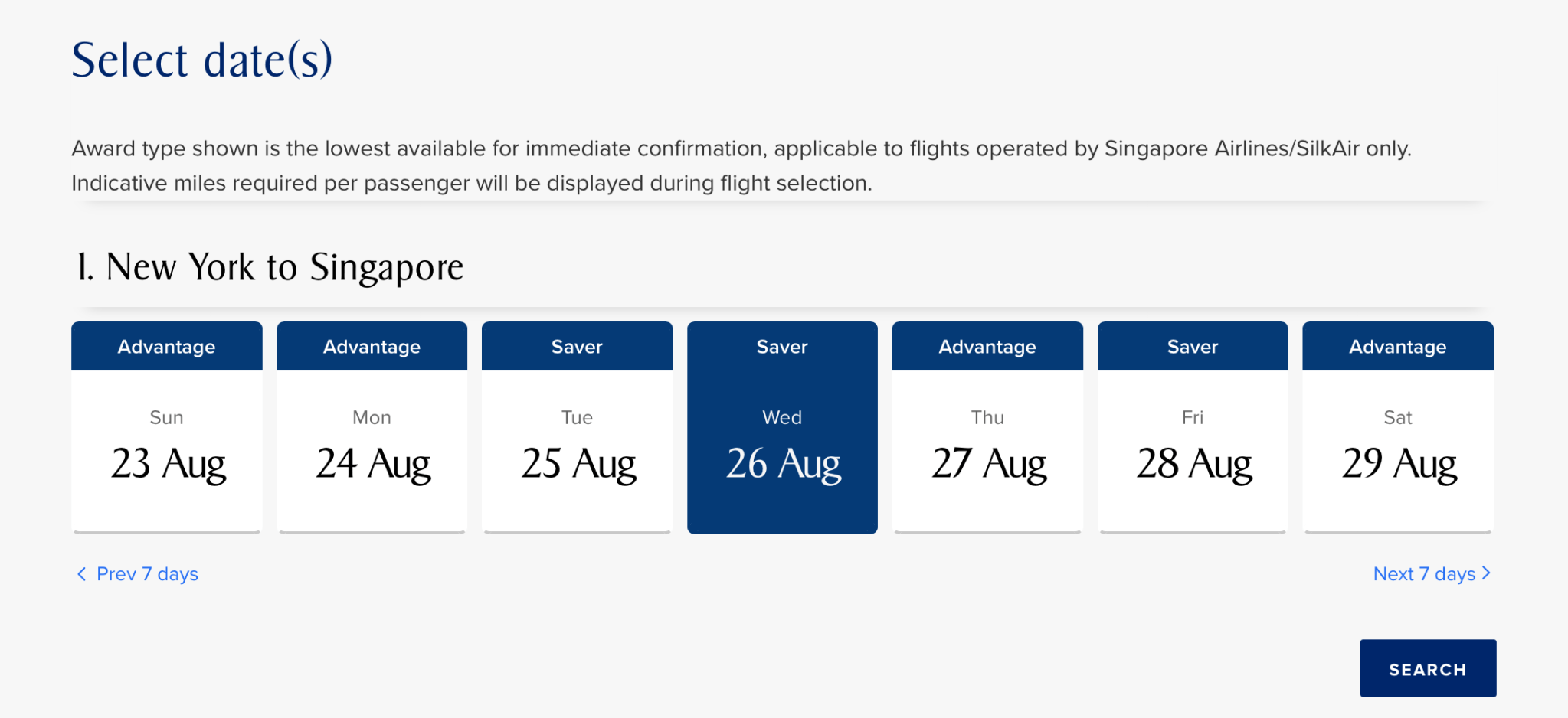 Flexible Date Search Singapore Airlines
