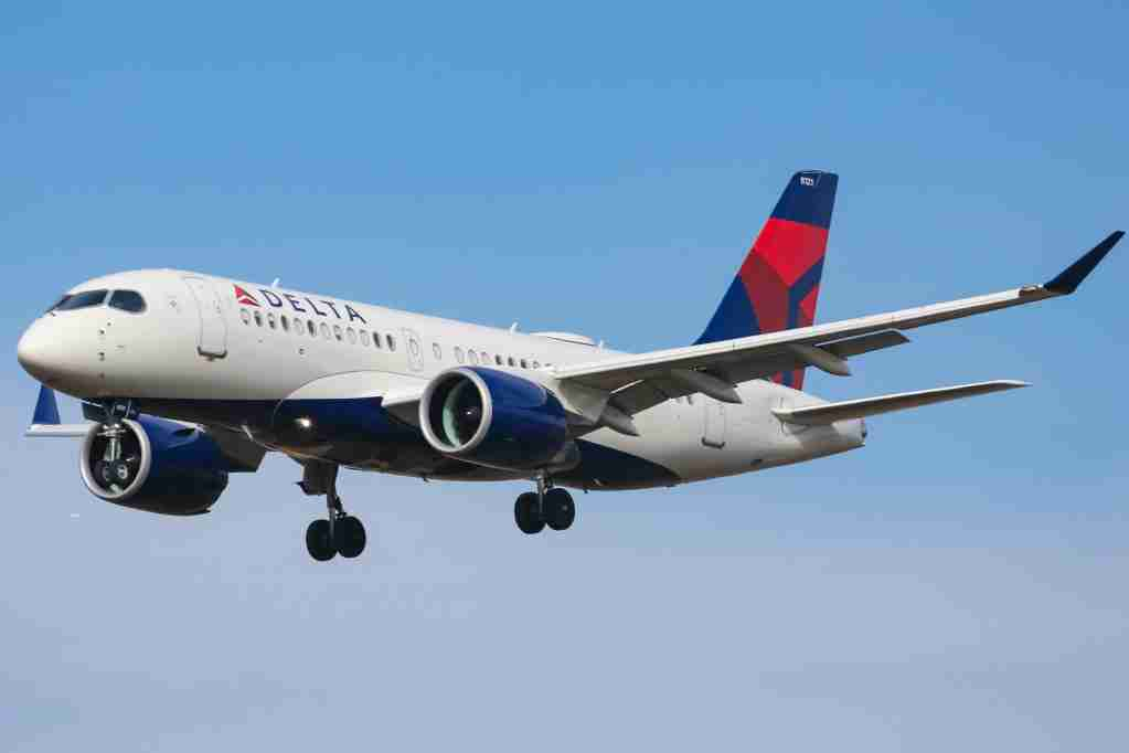 Delta Air Lines Airbus A220-100 aircraft as seen on final approach landing with landing gear down at New York JFK John F. Kennedy International Airport on 14 November 2019 in New York, US. The airplane has the registration N121DU, 2x PW jet engines. The renamed Airbus A220 airliner was Bombardier CS100, BD-500-1A10. Delta Air Lines DL Delta is the largest airline carrier in the world with a hub in New York-JFK. (Photo by Nicolas Economou/NurPhoto via Getty Images)