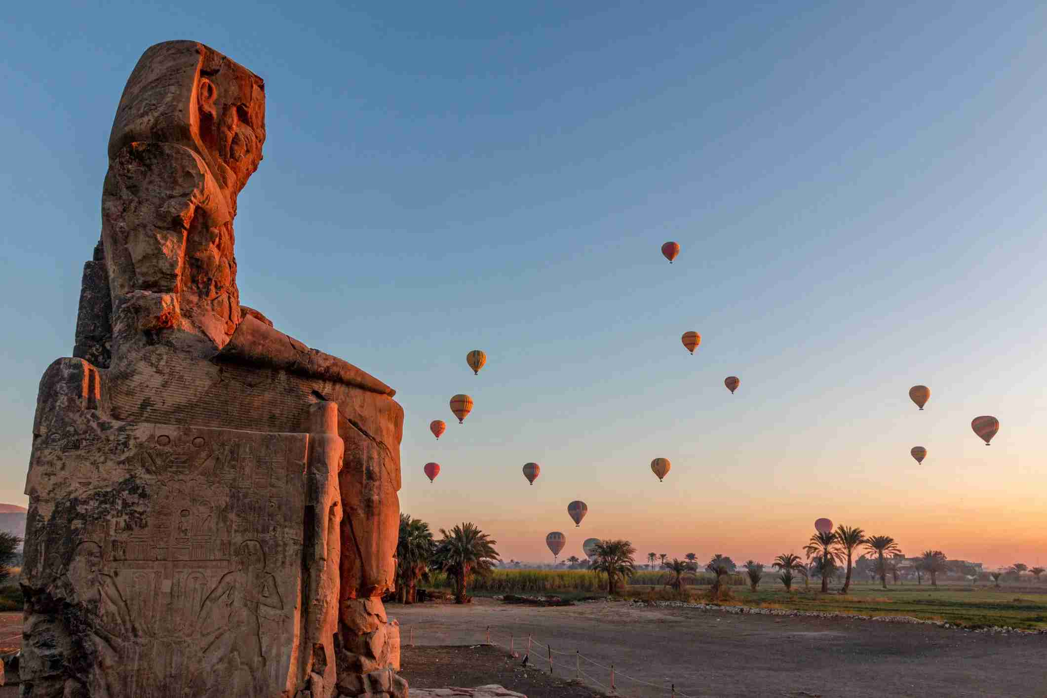 Hot air balloons over the Valley of the Kings near Luxor, Egypt. (Photo via Getty Images)