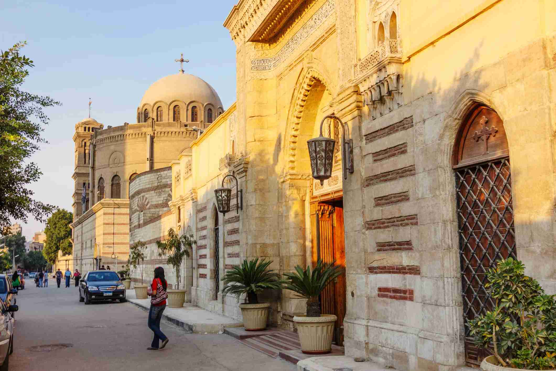 Main gate of the Hanging Church and church of Saint George in background. Coptic Cairo, Egypt. (Photo via Getty Images)