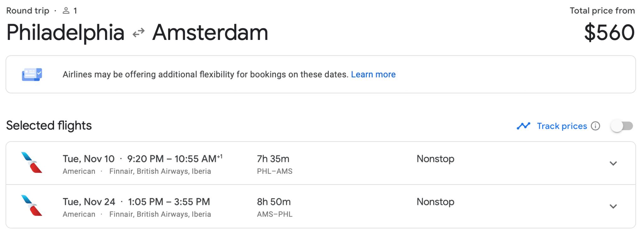 Google Flights PHL AMS Ticket American Airlines