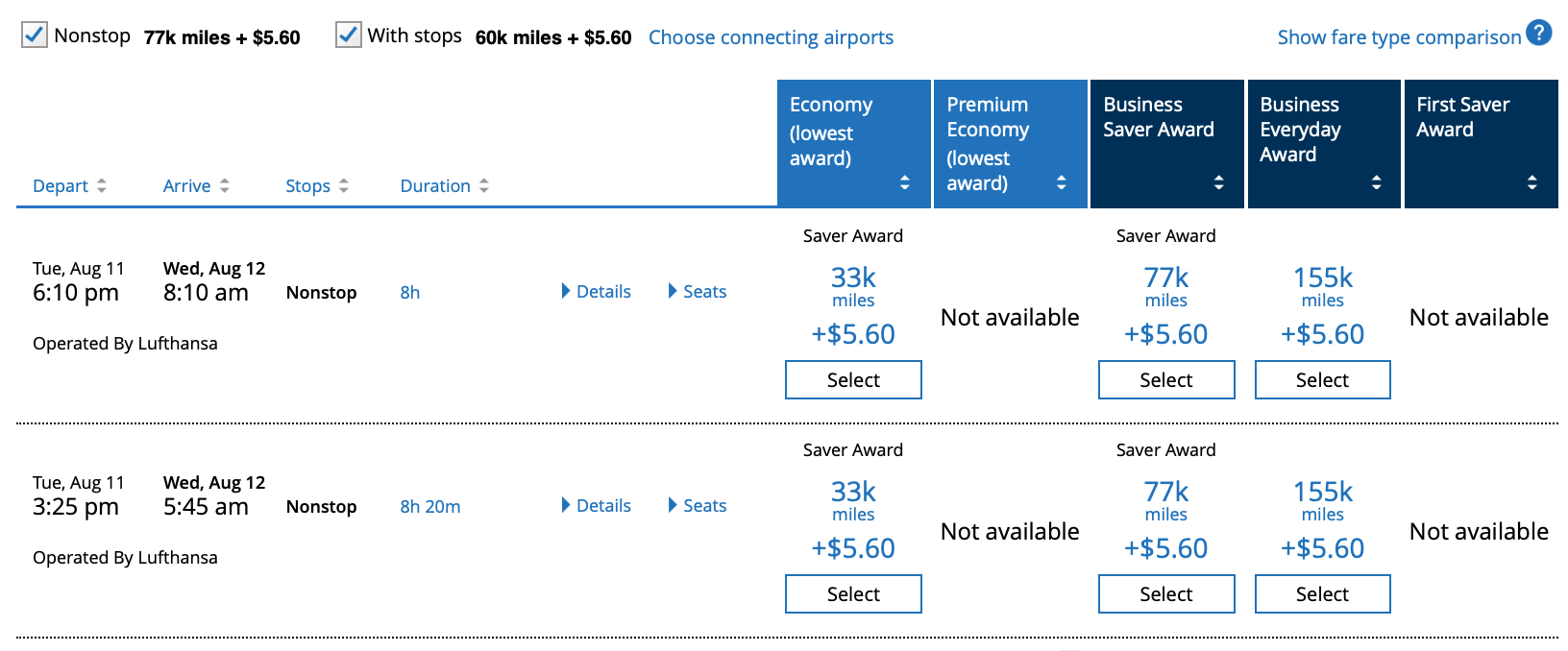 IAD to FRA New United Pricing