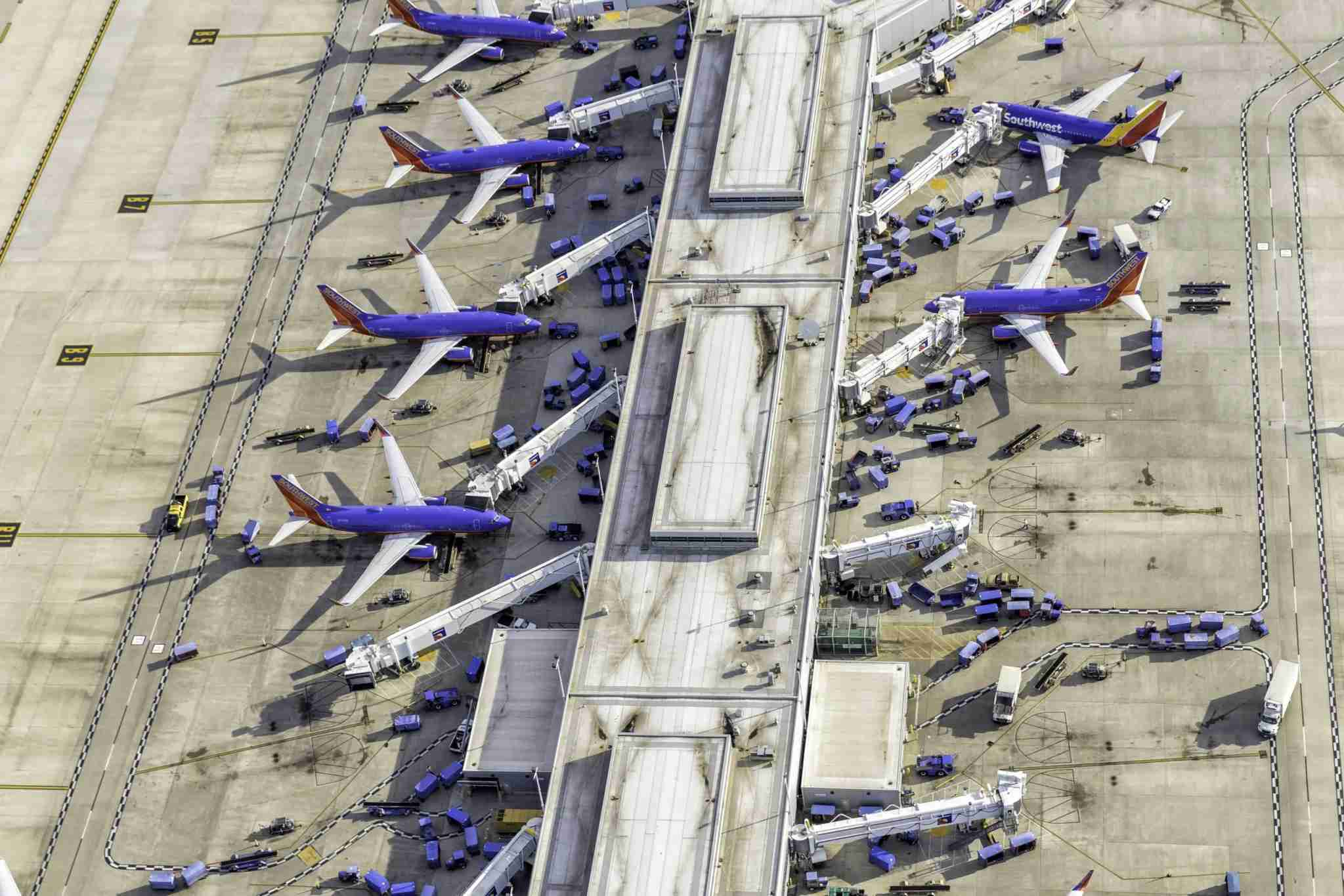 Southwest planes at MDW from the sky