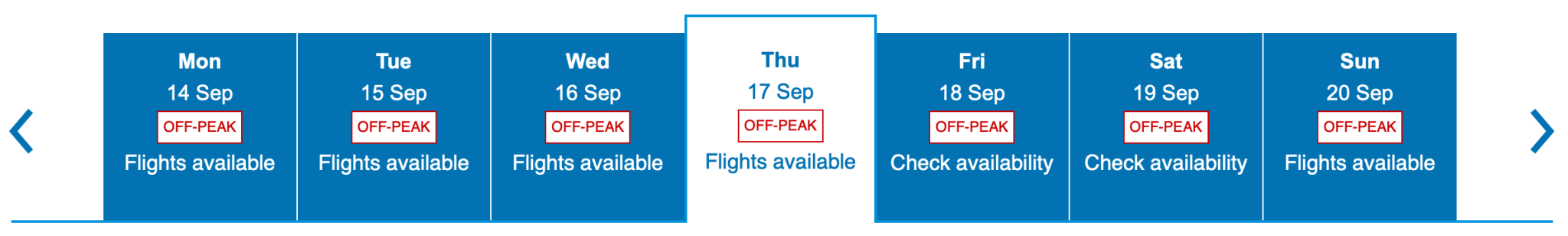 Viewing Peak and Off Peak Dates on BA Website Screen Shot