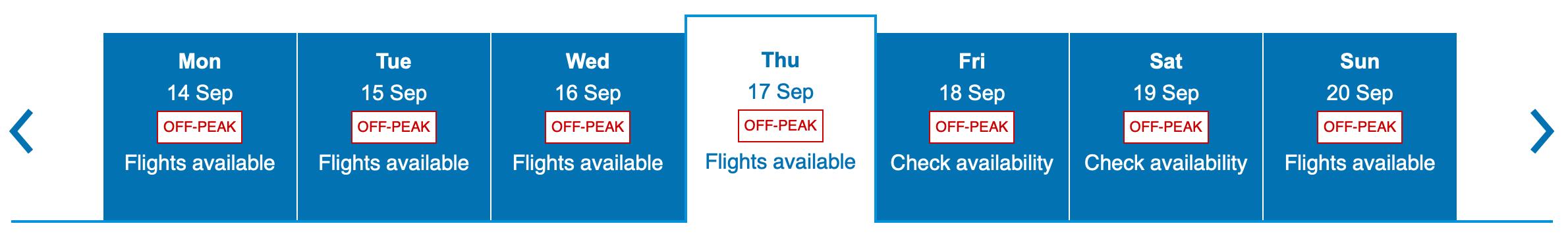 Viewing Peak and Off Peak Dates on BA Website Screen Shot