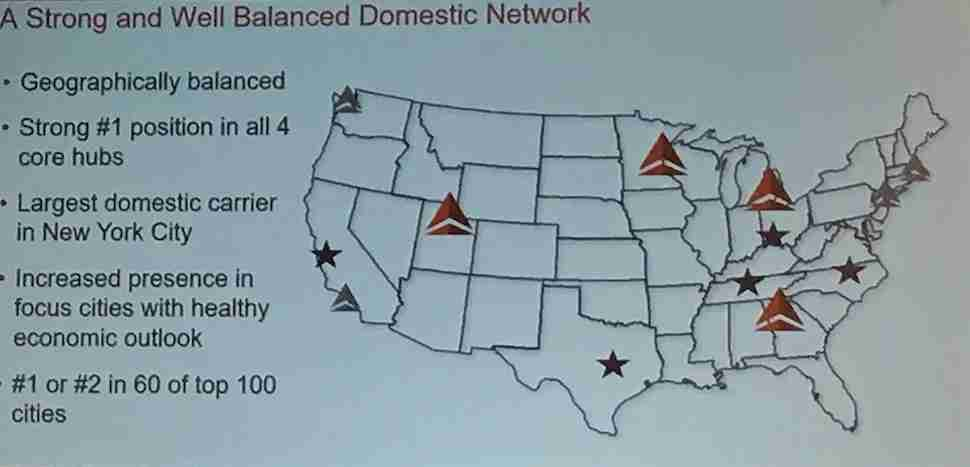 """Delta has four """"core"""" hubs (red widgets), four """"coastal hubs"""" (gray widgets) and five focus cities (stars) as shown on this 2019 slide. Will all of them return after the coronavirus crisis? (Image by Edward Russell/TPG)"""