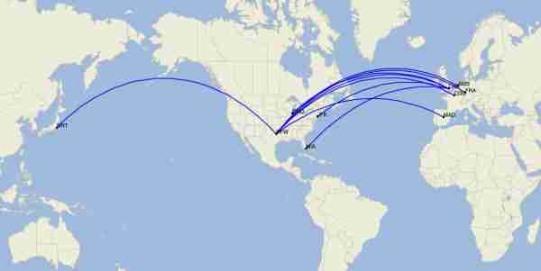 American Airlines long-haul international routes in June 2020. (Image by Cirium)