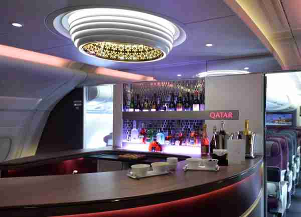 The lounge of the first and business class of an Airbus A380 of Qatar Airways is pictured at Le Bourget airport on June 16, 2015, north of Paris, on the second day of the International Paris Air show which will be held until June 21, 2015. AFP PHOTO / MIGUEL MEDINA (Photo credit should read MIGUEL MEDINA/AFP via Getty Images)