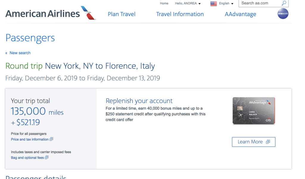 American Airlines Advantage miles JFK to Florence