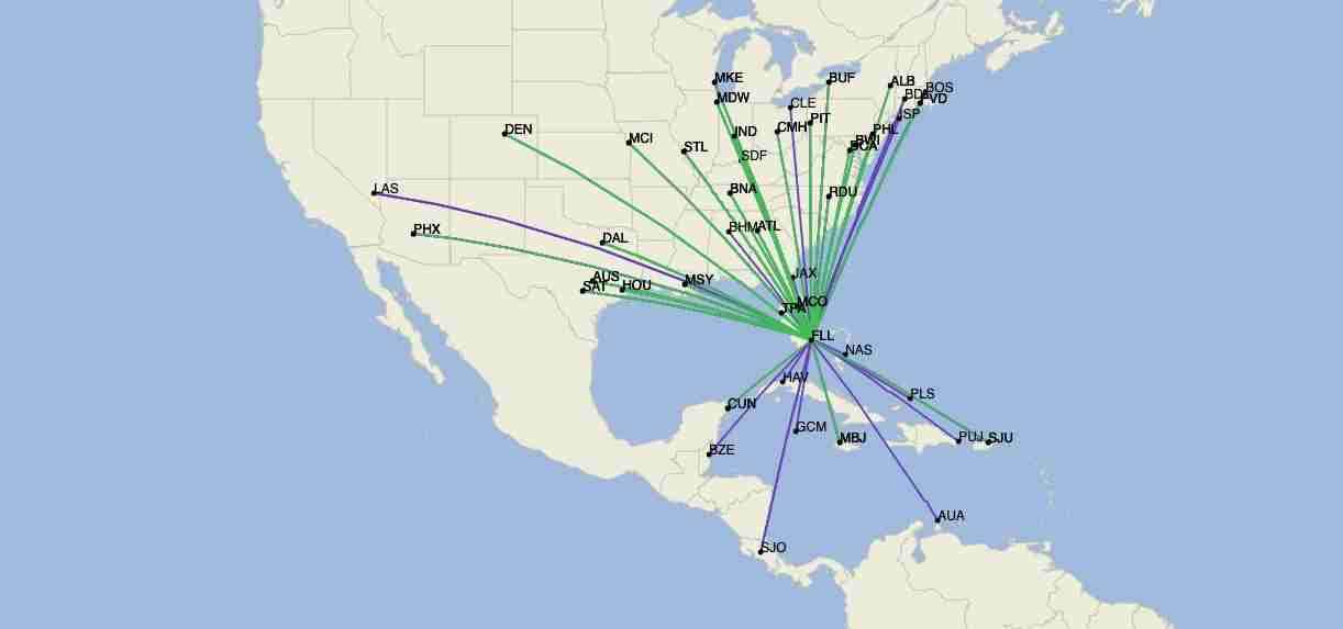 Southwest Airlines routes from Fort Lauderdale in December 2020. (Image by Cirium)