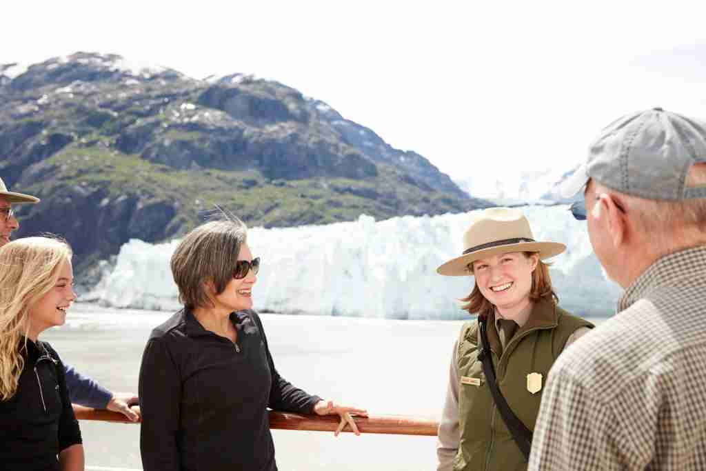 National Park Service rangers come aboard cruise ships at Glacier Bay National Park to offer commentary and answer questions. (Photo courtesy of Princess Cruises).