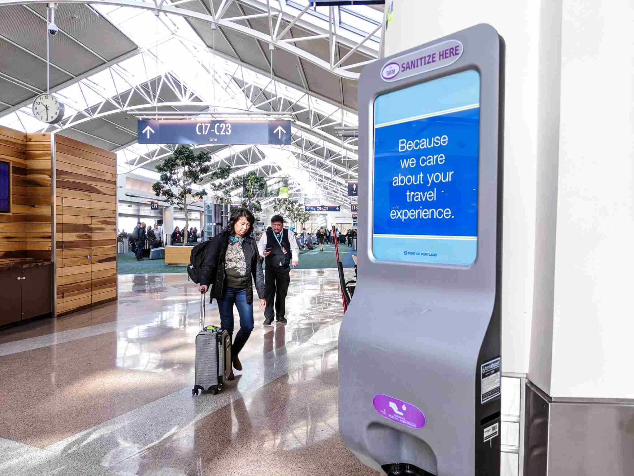 The Portland airport had hand sanitizer dispensers set up everywhere, but half of them were empty and hadn
