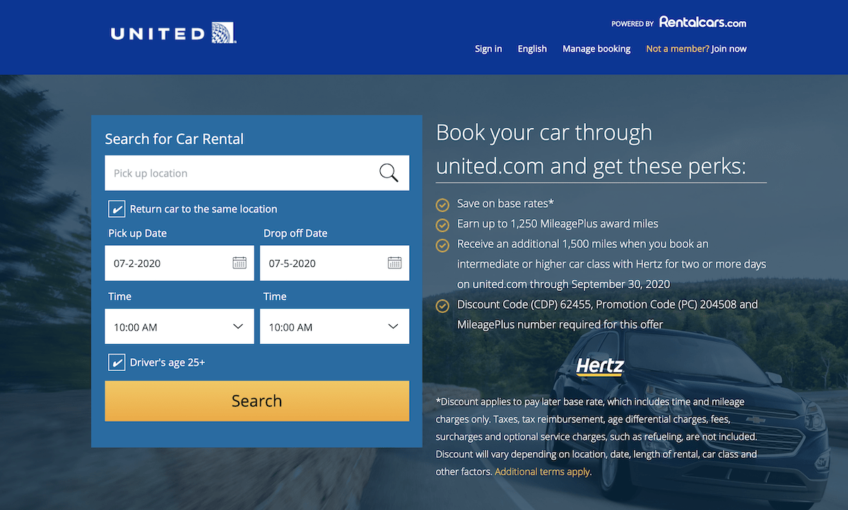 Booking Rental Cars with United Airlines