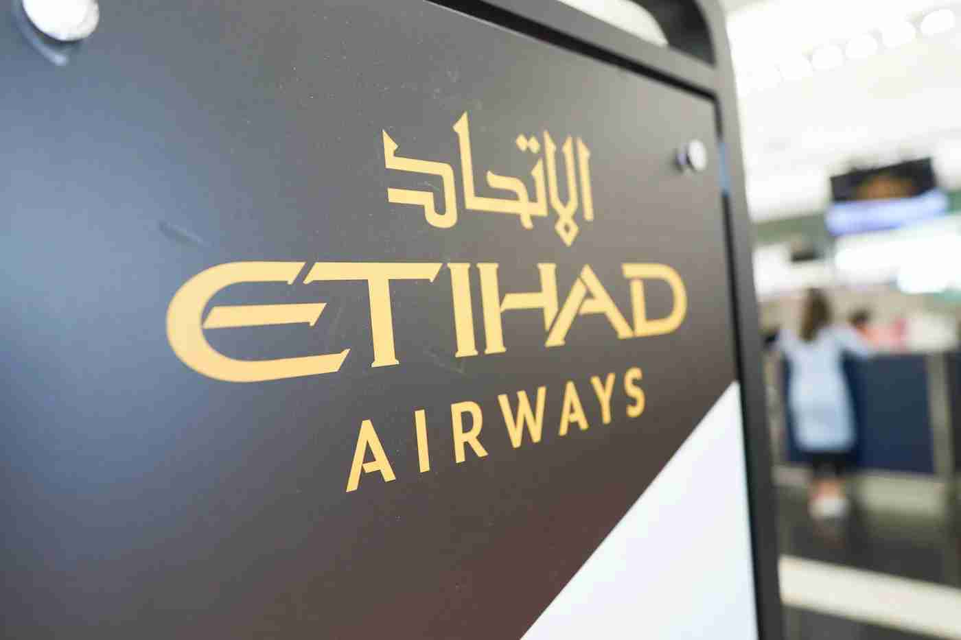 Etihad Airways sign at an airport