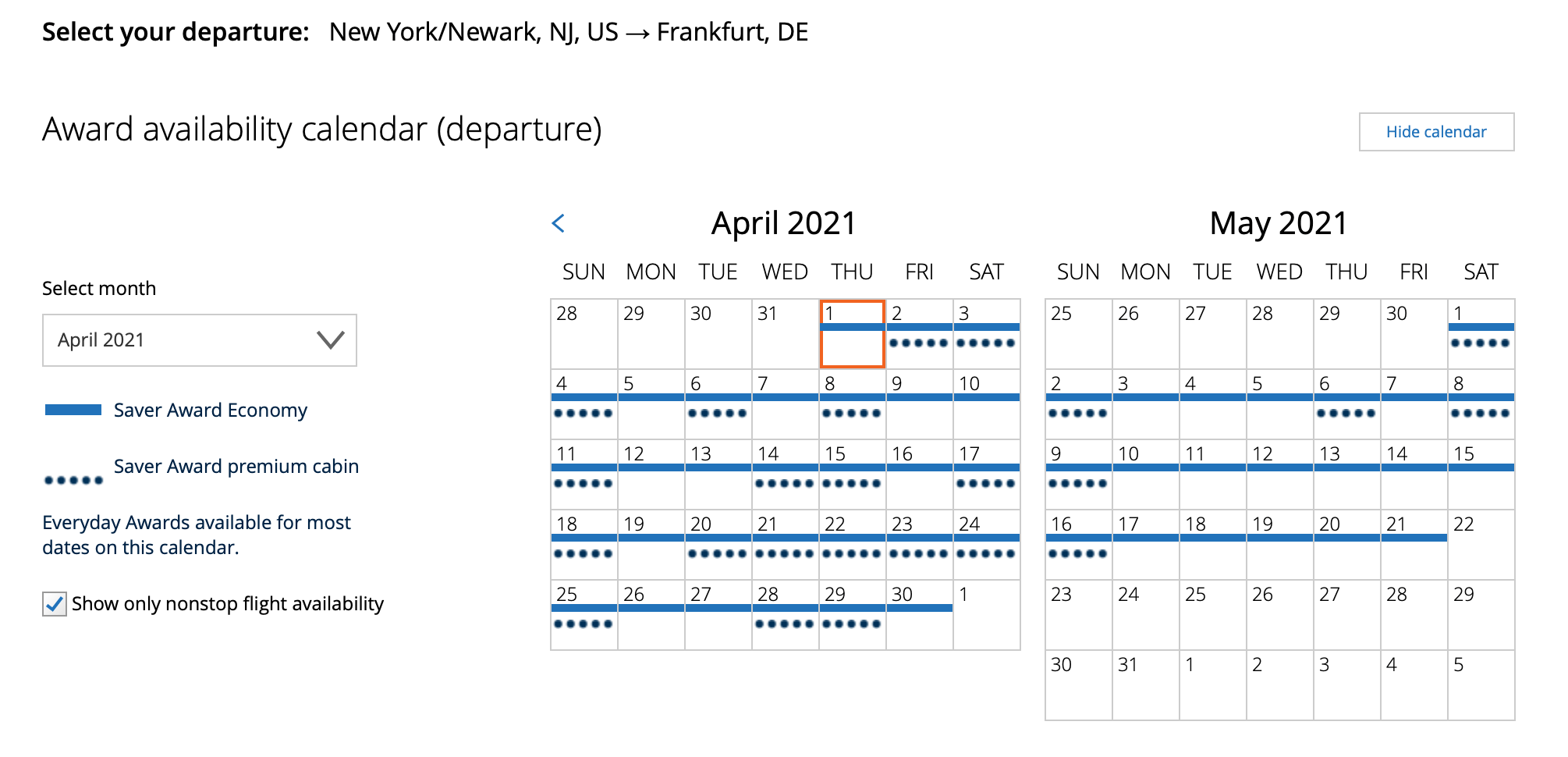 Viewing award space calendar on United.com