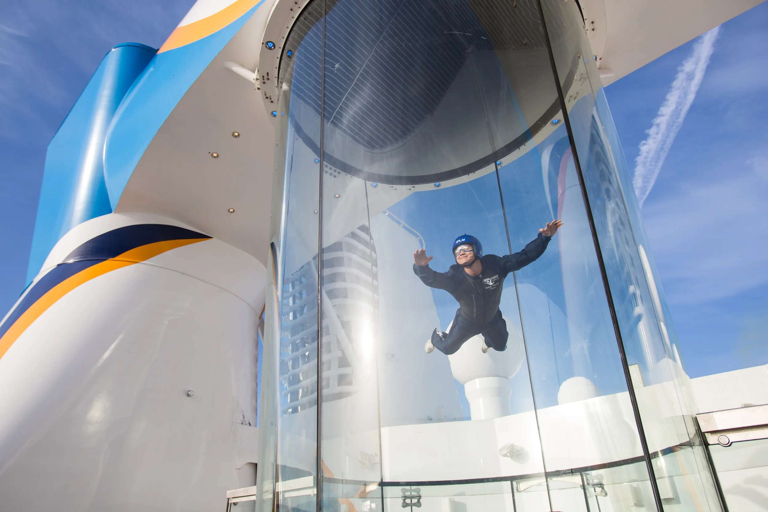 A skydiving simulator atop Royal Caribbean's Quantum of the Seas. (Photo courtesy of Royal Caribbean)