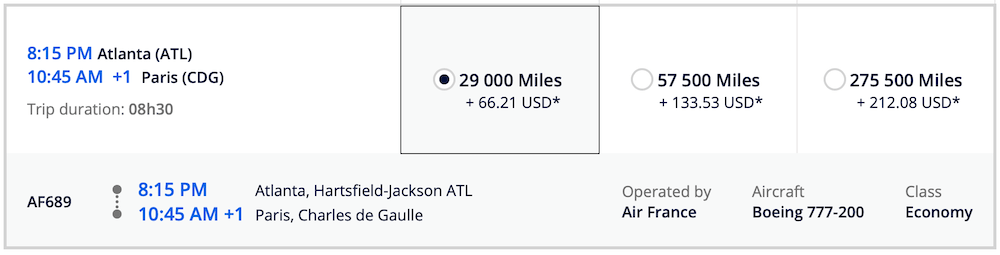 ATL CDG Flying Blue Pricing for Air France Flight Screen Shot