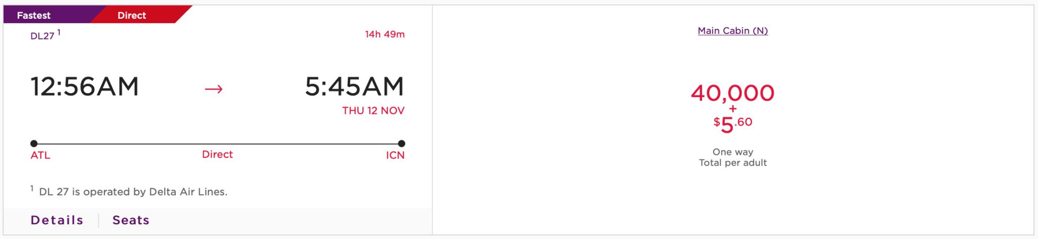 ATL ICN Virgin Atlantic Pricing for Delta Flight Screen Shot