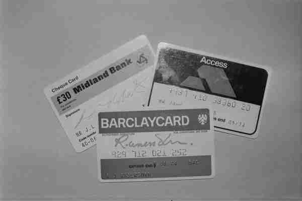 The Midland Bank, Barclaycard and Access, UK cards in 1974. (Photo by P. Floyd/Daily Express/Hulton Archive/Getty Images)