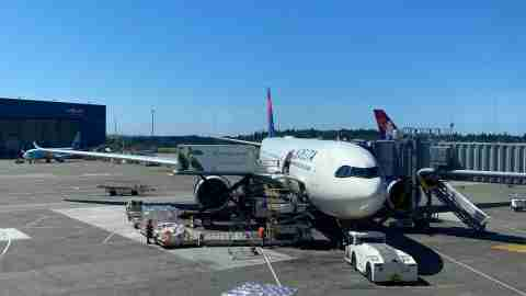 Delta A330-900neo in Seattle to depart for Incheon.