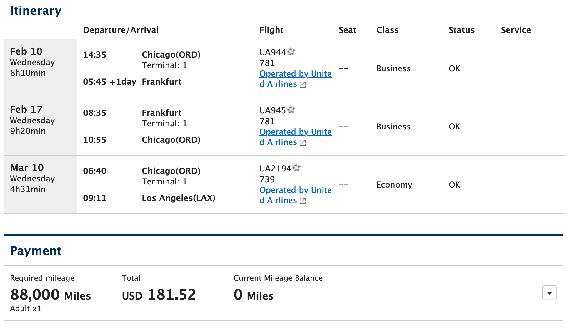 Itinerary Showing Free Domestic Leg Departing Later Than Round Trip