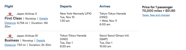 JFK HND GMP First Class Pricing Japan Airlines Alaska Airlines