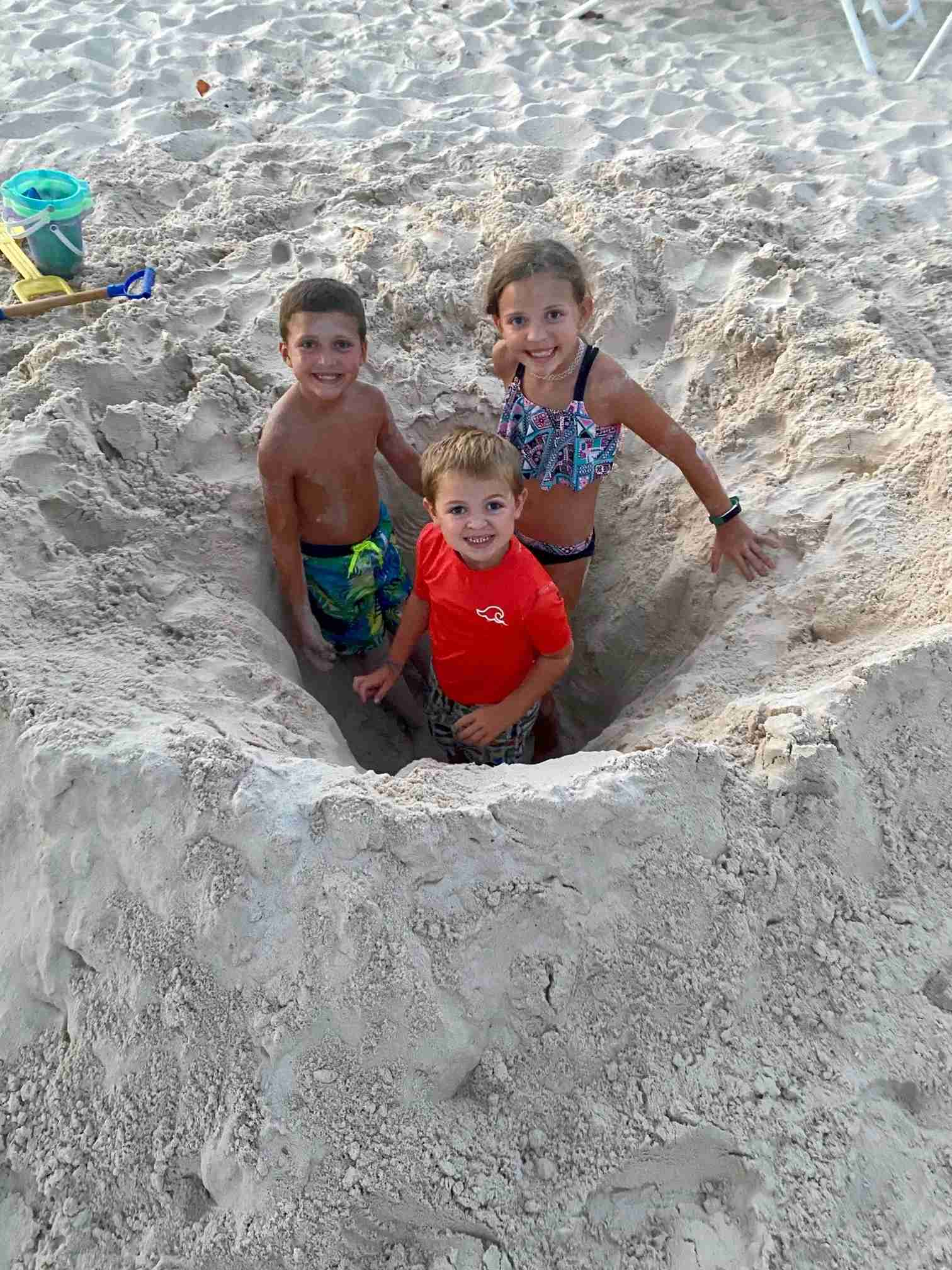 The Kaplan kids at the beach in Aruba.