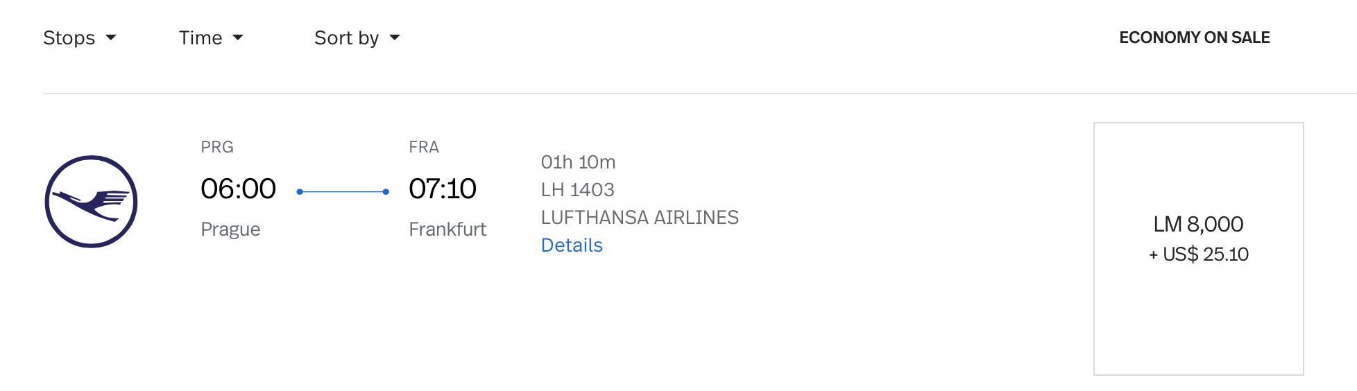 PRG to FRA LifeMiles Pricing on Lufthansa