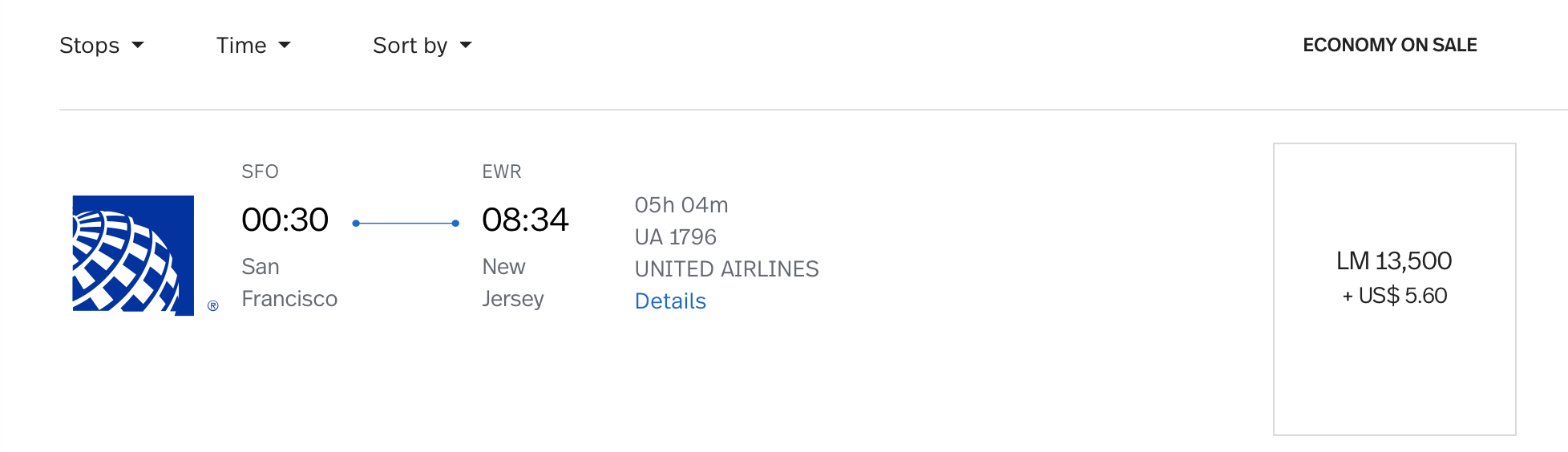 SFO to EWR LifeMiles Pricing on United Airlines