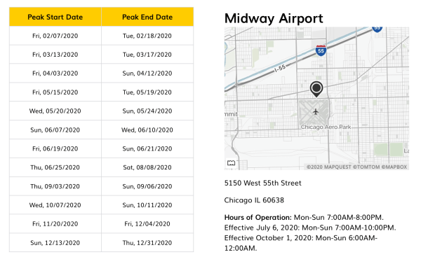 Hertz AnyDay Peak Dates at MDW Airport in Chicago