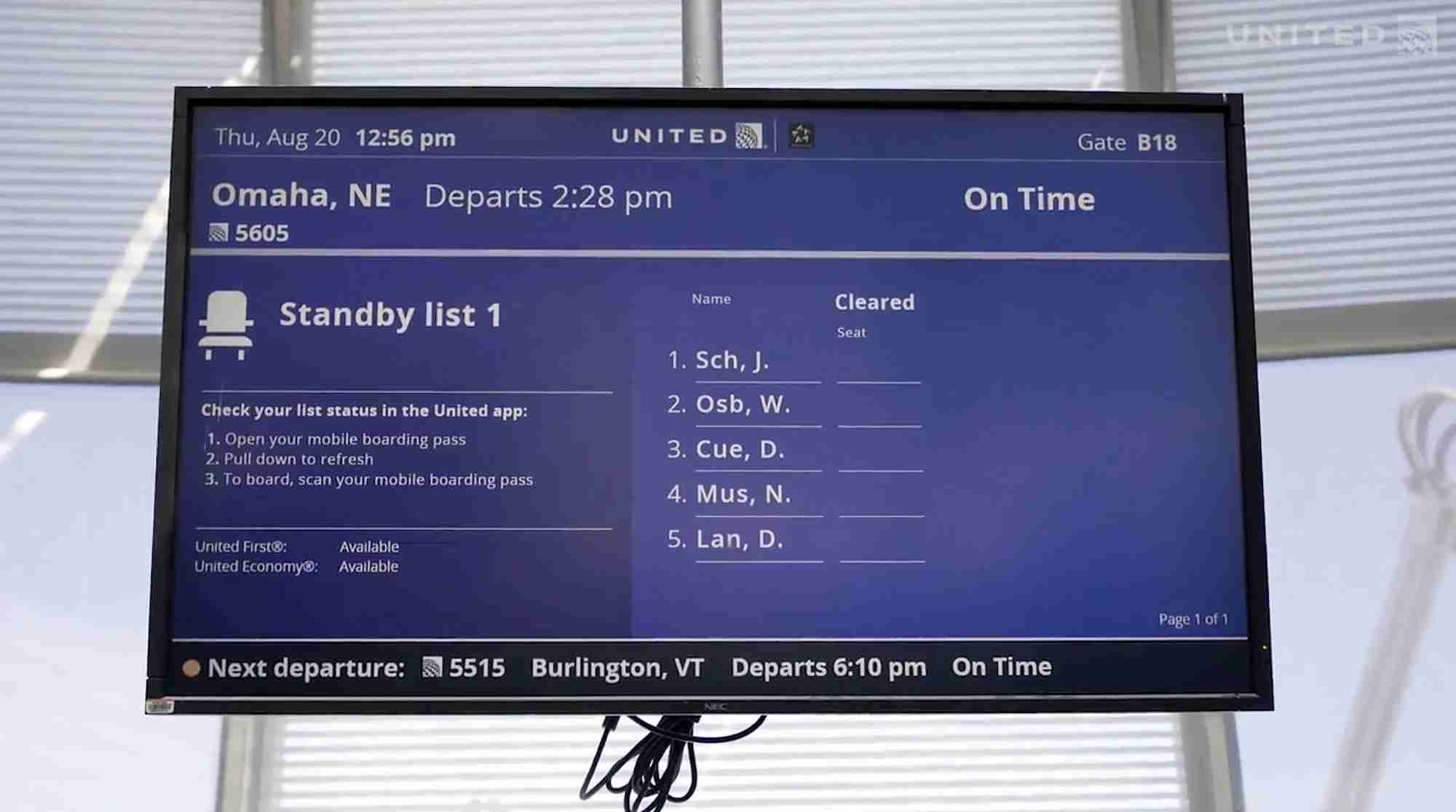 Screenshot courtesy of United Airlines.