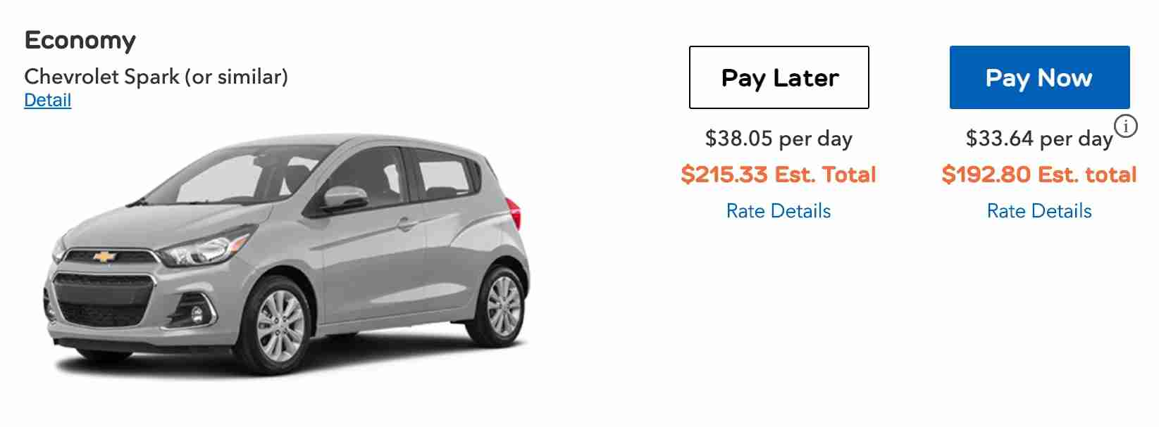 Thrifty rental car economy rental