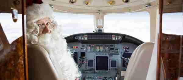 Santa pilot airplane