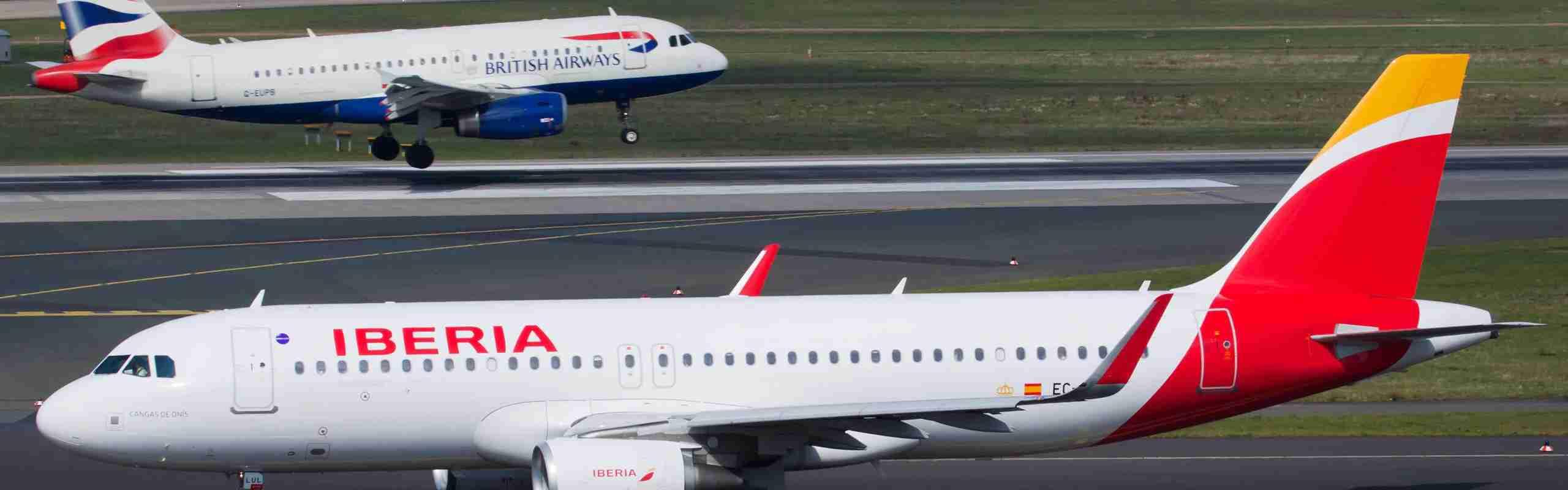 Iberia and British airways planes on the runway