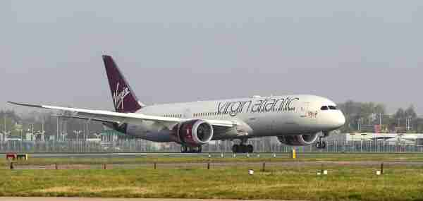 Virgin Atlantic flight VS355 arrives at London Heathrow, carrying the first UK nationals from India