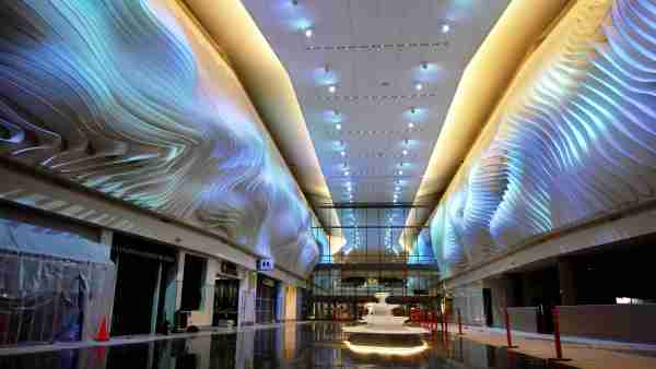 """Lights in """"The Canyon"""" change X. (Image courtesy of Salt Lake City International Airport)"""