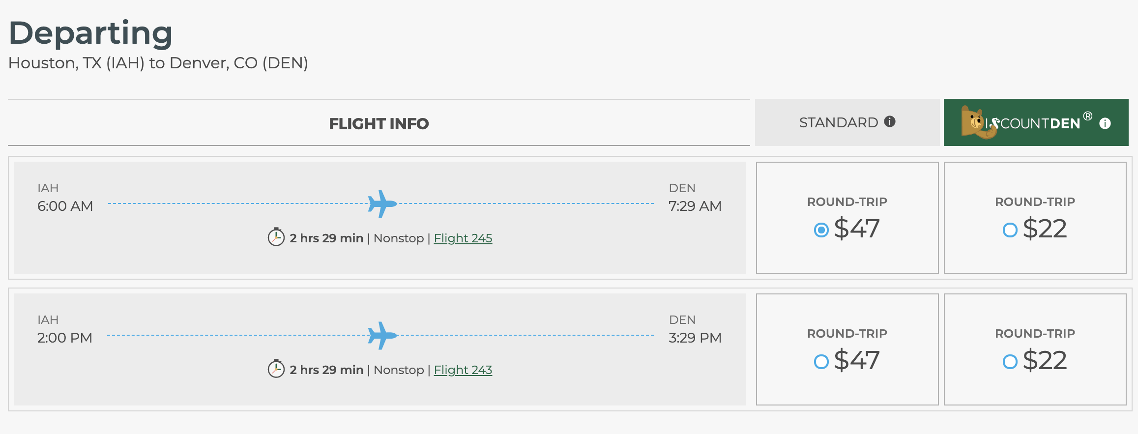 Screenshot courtesy of Frontier Airlines