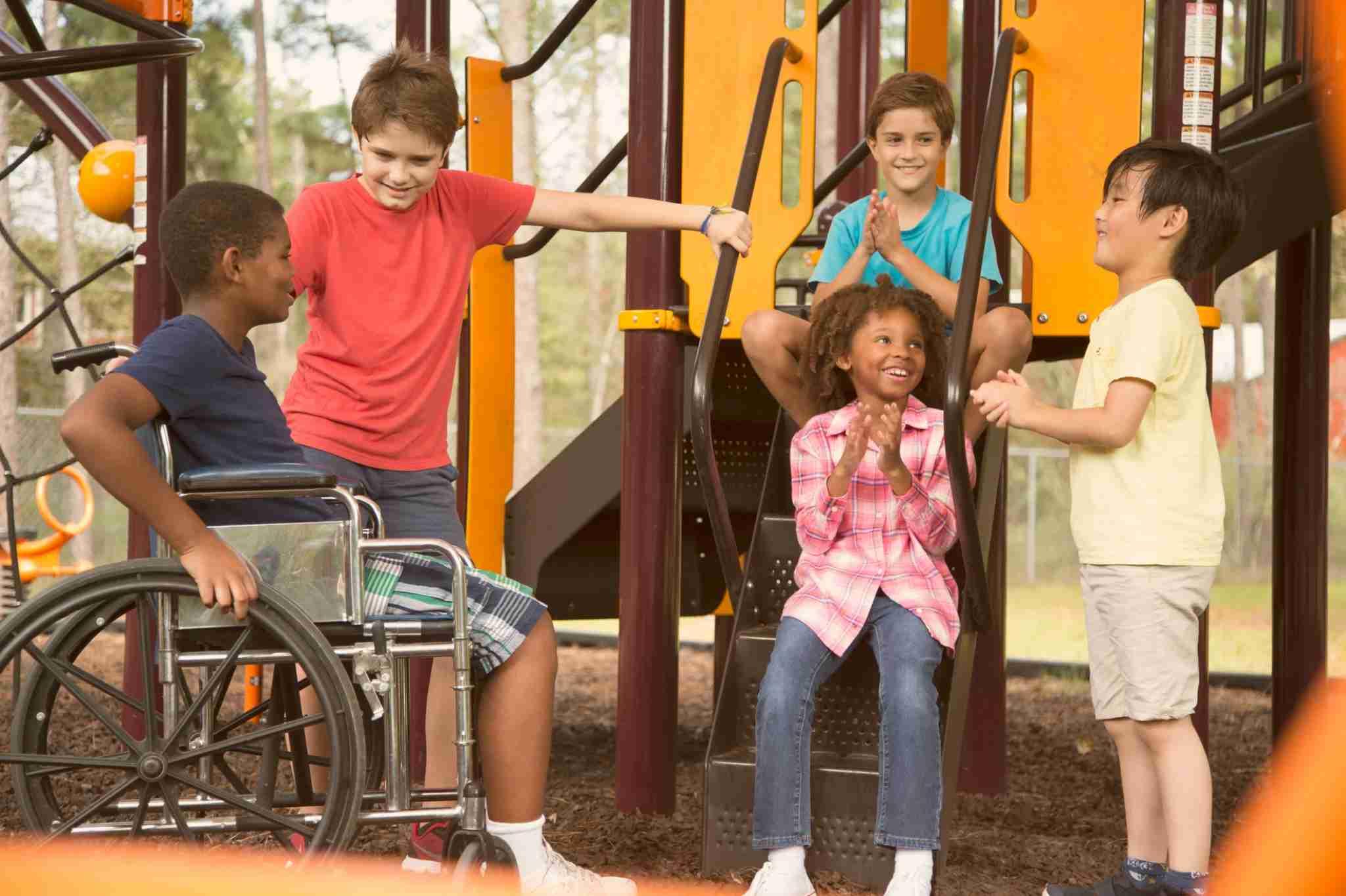 child in wheelchair at park