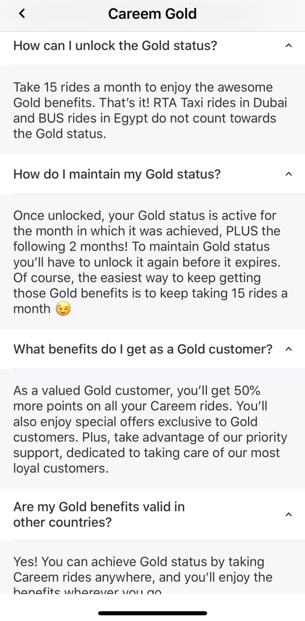 careem gold faq