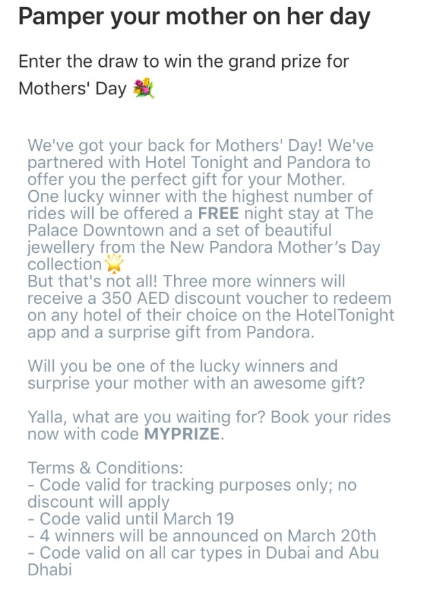Careem mothers day promotion offer discount deal Dubai uae