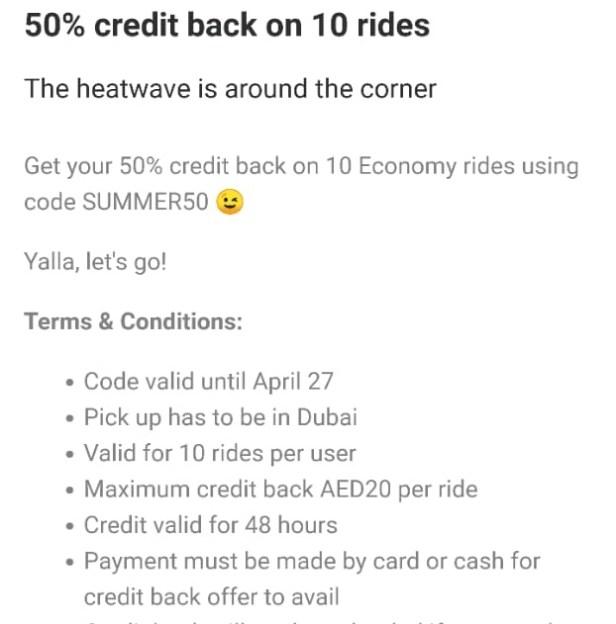 Careem summer coupon discount deal offer dubai uae