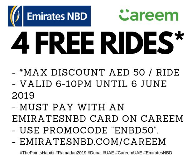 emiratesnbd careem free ride discount ramadan dubai uae