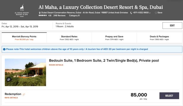 marriott bonvoy points uae al maha resort dubai