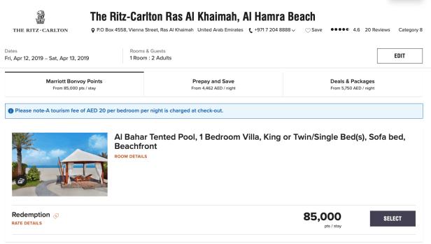 marriott bonvoy points uae ritz carlton al hamra beach ras al khaimah dubai review