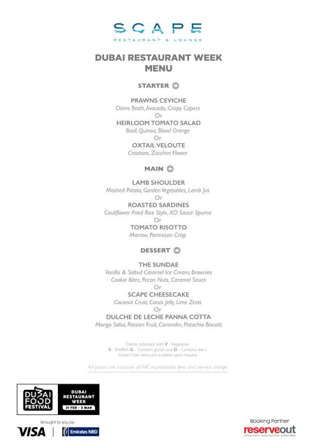 scape Burj al arab Dubai Restaurant week menu review uae