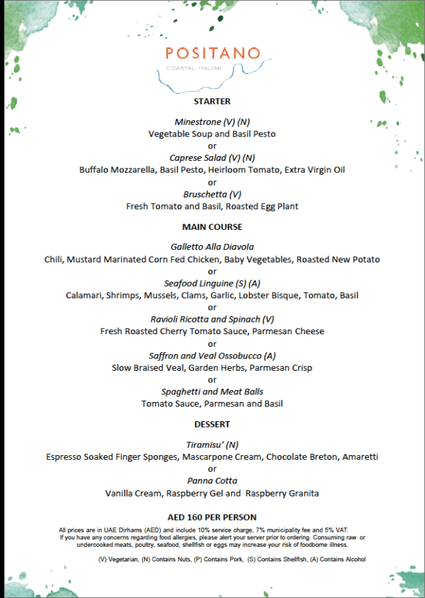 positano menu review dubai uae 2019